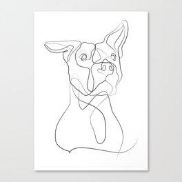 Pitbull Dog Line Art Canvas Print