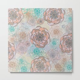 Peony Flowers Peach and Cream Metal Print