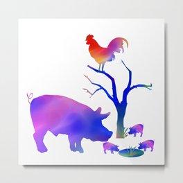 Pigs on the farm Metal Print