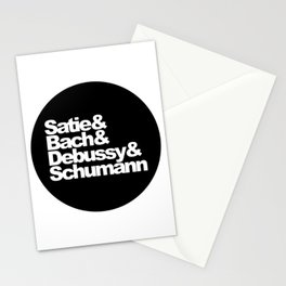 Satie and Bach and Debussy and Schumann, circle, black Stationery Cards