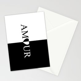AMOUR LOVE Black And White Design Stationery Cards