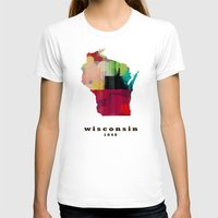 wisconsin T-shirts featuring Wisconsin state map modern by bri.buckley