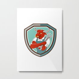 Bull Mechanic Spanner Standing Shield Cartoon Metal Print