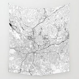 Atlanta White Map Wall Tapestry