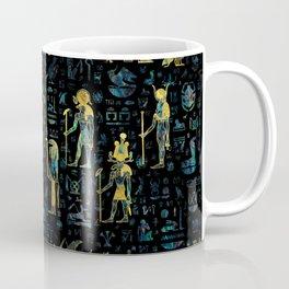 Egyptian Gods and hieroglyphs - Abalone and Gold Coffee Mug