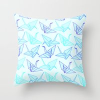 origami Throw Pillows featuring Origami by StudioBlueRoom