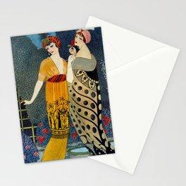 Les Modes, Art Deco Women in Poiret Evening Wear Roaring Twenties portrait painting - George Barbier Stationery Cards