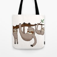 sloths Tote Bags featuring Cute Illustrated Sloths  by Philly & Brit