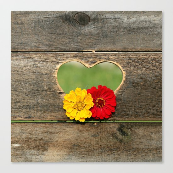 Wooden Heart with Flowers Canvas Print