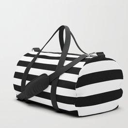 Stripe Black And White Horizontal Line Bold Minimalism Duffle Bag