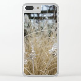 Icicles on Ornamental Grass, No. 1 Clear iPhone Case