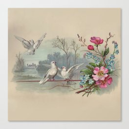 Vintage White Forest Birds Canvas Print
