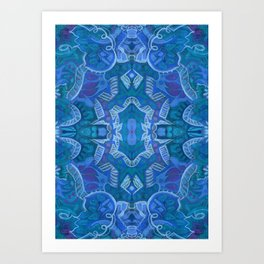 Crystal Palace, Bohemian Arabesque Pattern, Azure Blue Art Print