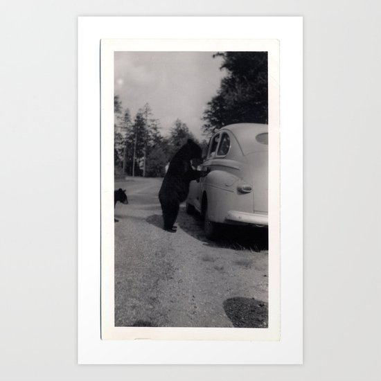 Mr. Bear goes to work Art Print