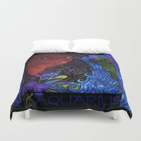 aquarius Duvet Covers featuring Aquarius by Laura Jean