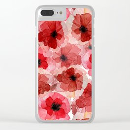 Pressed Poppy Blossom Pattern Clear iPhone Case