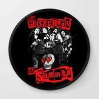 5 seconds of summer Wall Clocks featuring FIVE SECONDS  by dan ron eli
