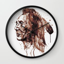 Indian Warrior Sepia Tones Wall Clock