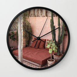 Tropical Terrace Marrakech Photo Art Print | Pink Rooftop Cactus Plants | Morocco Travel Photography Wall Clock