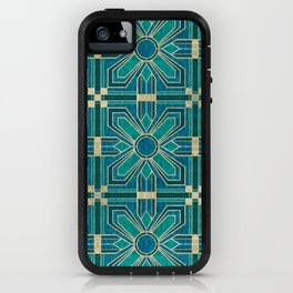 Art Deco Flowers in Teal and Faux Gold iPhone Case