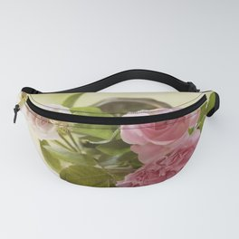 Pink English Roses in a silver Pot- Vintage Rose Stilllife Photography Fanny Pack