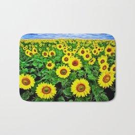 Sunflower Fields Forever, Landscape Painting by Jeanpaul Ferro Bath Mat