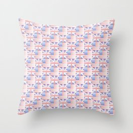 Mix of flag : Usa and uk 2 with color gradient Throw Pillow