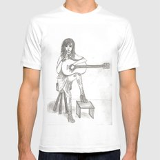 Now If Only I Could Play Guitar (sketch) Mens Fitted Tee White MEDIUM
