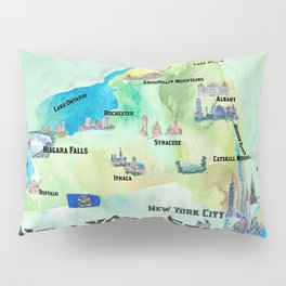 USA New York State Travel Poster Map with tourist highlights Pillow Sham