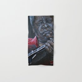 African American Masterpiece, B. B. King Plays New Orleans Guitar Prodigy portrait painting by Nunez Hand & Bath Towel