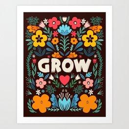 GROW floral Art Print