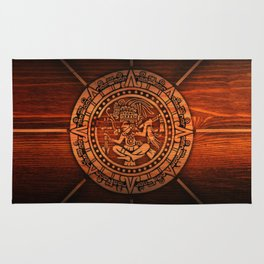Aztec Logo On Wood Rug