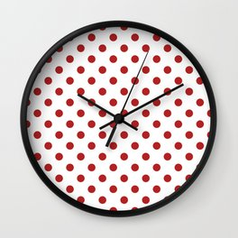 Small Polka Dots - Firebrick Red on White Wall Clock