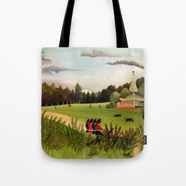 12,000pixel-500dpi - Henri Rousseau - Landscape and Four Young Girls - Digital Remastered Edition Tote Bag