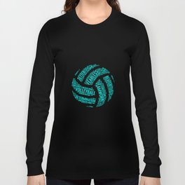 Turquoise Volleyball Wordcloud - Gift Long Sleeve T-shirt