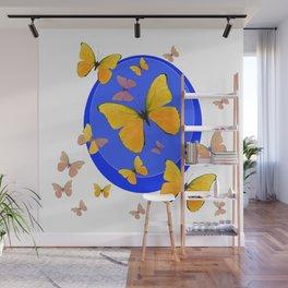 YELLOW BUTTERFLIES SWARM & BLUE RING MODERN ART Wall Mural