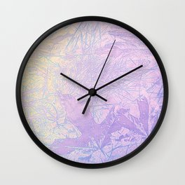 Golden Fall Watercolor Leaf Impressions Wall Clock