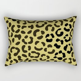 Trendy Black on Faux Gold Leopard Print Pattern Rectangular Pillow