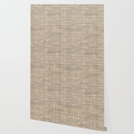 Beige Taupe Brown Jute Burlap Textile Pattern Wallpaper