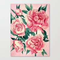 peonies Canvas Prints featuring Peonies by Lynette Sherrard Illustration and Design