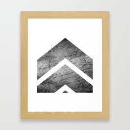 Grey And White Modern Geometric Grunge Chevrons Framed Art Print