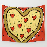 valentines Wall Tapestries featuring Valentines Day Pizza Pizza by NickyDigital