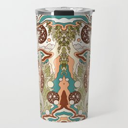 Jurassic Portal | Retro Rainbow Palette | Dinosaur Science Fiction Art Travel Mug