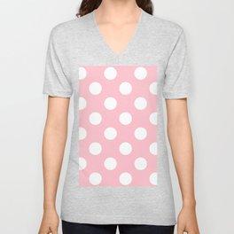 Large Polka Dots - White on Pink Unisex V-Neck