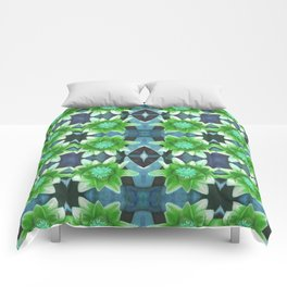 Blue Tropical Bromiliad Panel Comforters
