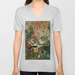 """King of the Mermaids"" Fairy Tale Art by Edmund Dulac Unisex V-Neck"