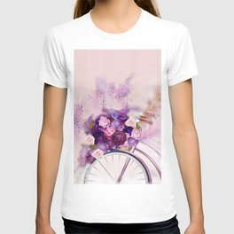 Vintag Bicycle and Flowers T-shirt
