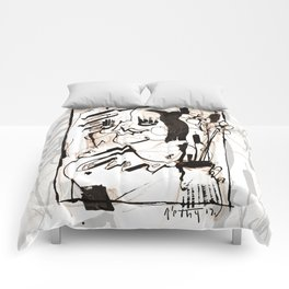 Old Flowers - b&w Comforters