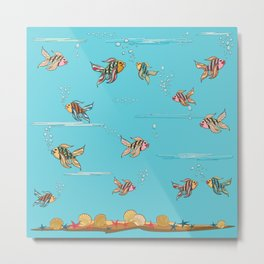 colorful fishes and seashells - blue Metal Print