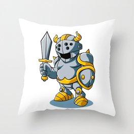 Cartoon knight With Swords Shield Helmet Army Uniform Throw Pillow
